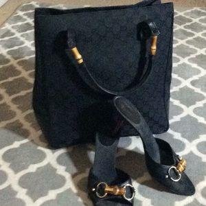 Vintage Gucci mono,bamboo& lizard bag and shoe set